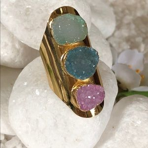 Jewelry - 🛍✨NATURAL GOLD PLATED DRUZY RING🛍✨